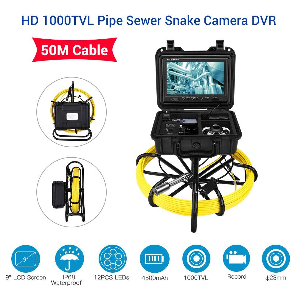 Eyoyo 9 pollice Monitor LCD 1000TVL 50 m 23mm Tubo di Ispezione Video Macchina Fotografica, di scarico tubo di Fogna Pipeline Endoscopio Industriale Ispettore