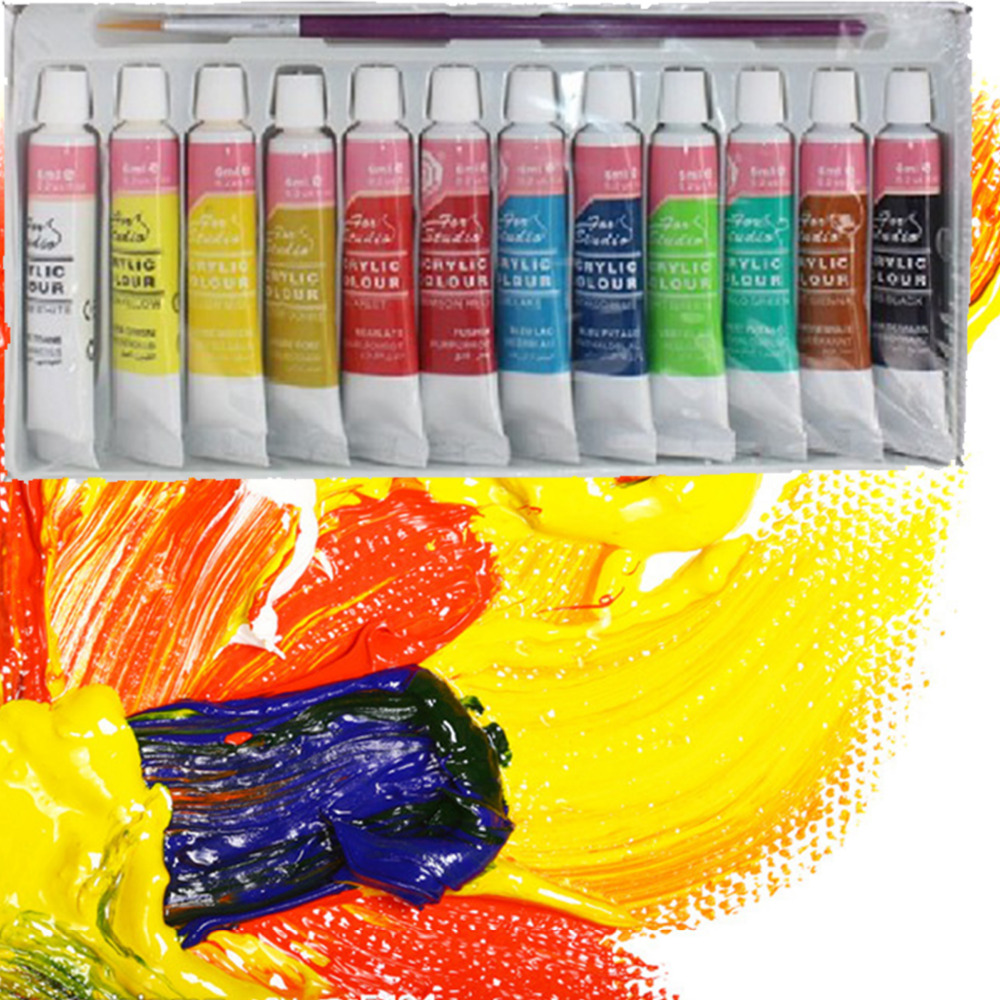 12 colors professional acrylic paints set hand painted for Acrylic mural paint supplies