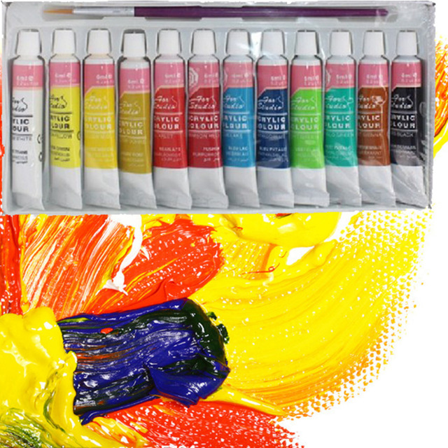 12 Colors Professional Acrylic Paints Set Hand Painted Wall Painting Textile Paint Brightly Colored Art Supplies Free Shipping