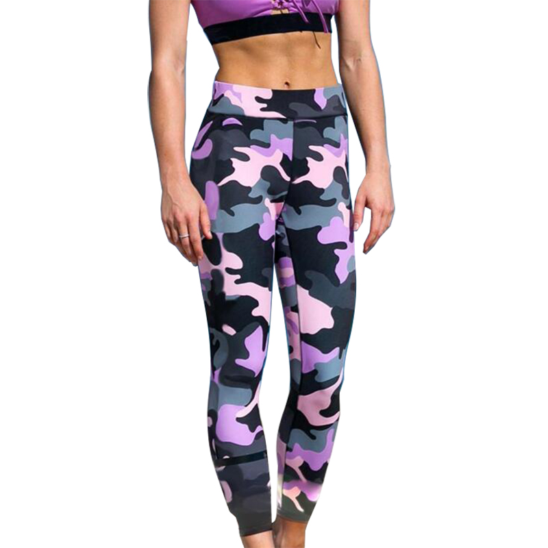 2019 Women Printing Camouflage Jeggings High Waist Breathable Pants Polyester Soft Breathable Nine Points Push Up Sexy Leggings