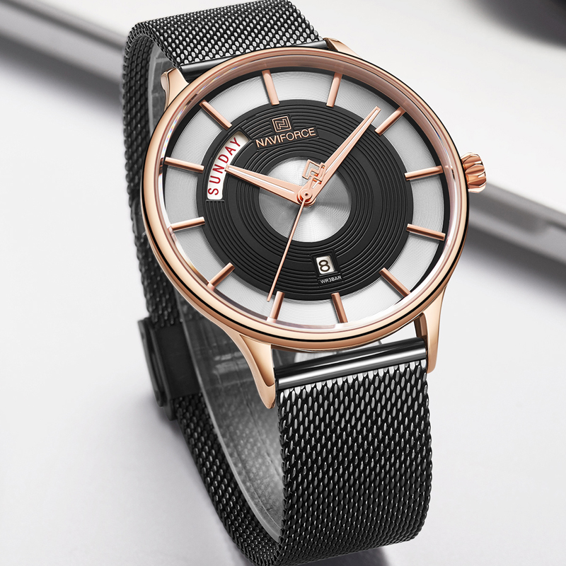 New Men Watch NAVIFORCE Luxury Creative Watches Top Brand Quartz Clock Male Sport Steel band Wrist Watch relogio masculino 2019