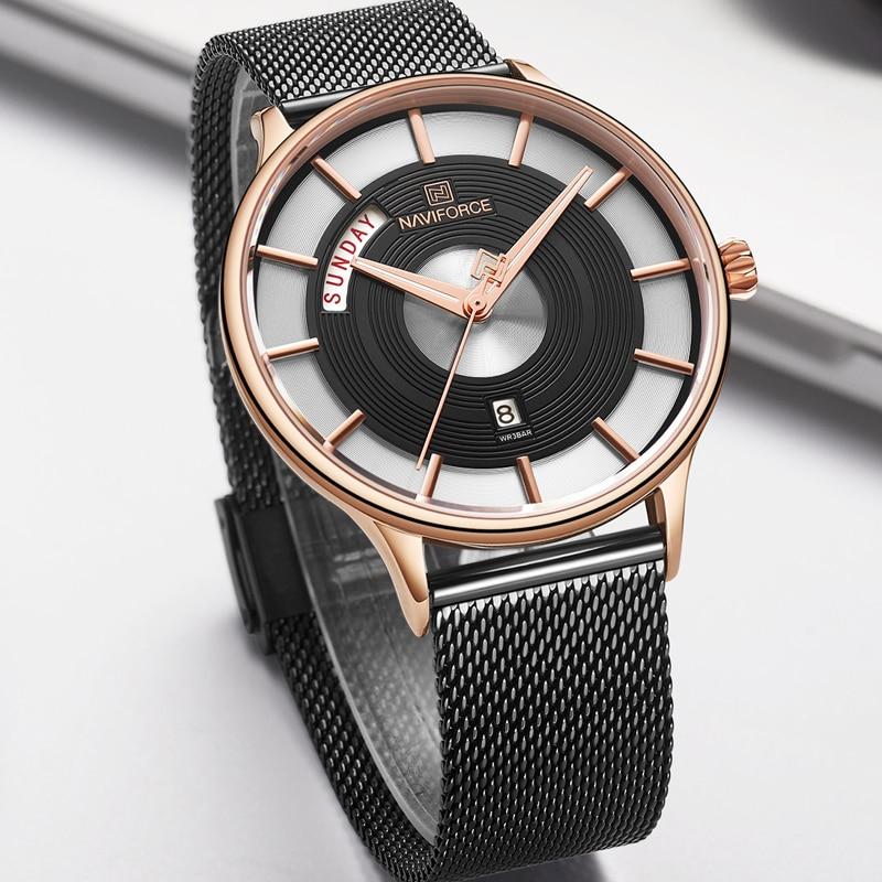 New Men Watch NAVIFORCE Luxury Creative Watches Top Brand Quartz Clock Male Sport Steel band Wrist Watch relogio masculino 2019