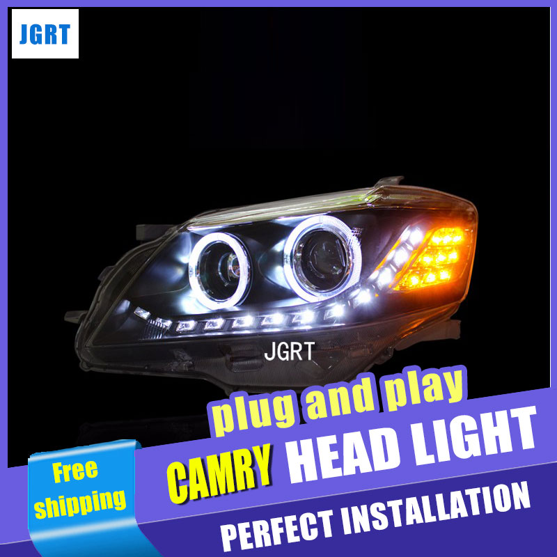 Car Styling for Toyota Camry Headlight assembly 2009-2011 LED Headlight Lens Double Beam H7 with hid kit 2pcs. hireno headlamp for 2003 2009 toyota land cruiser prado headlight assembly led drl angel lens double beam hid xenon 2pcs