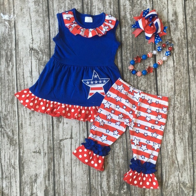 651d5fa2645 baby girls summer capri clothing children July 4th Patriotic clothes girl  clothes girls boutique outfits with bows and necklace
