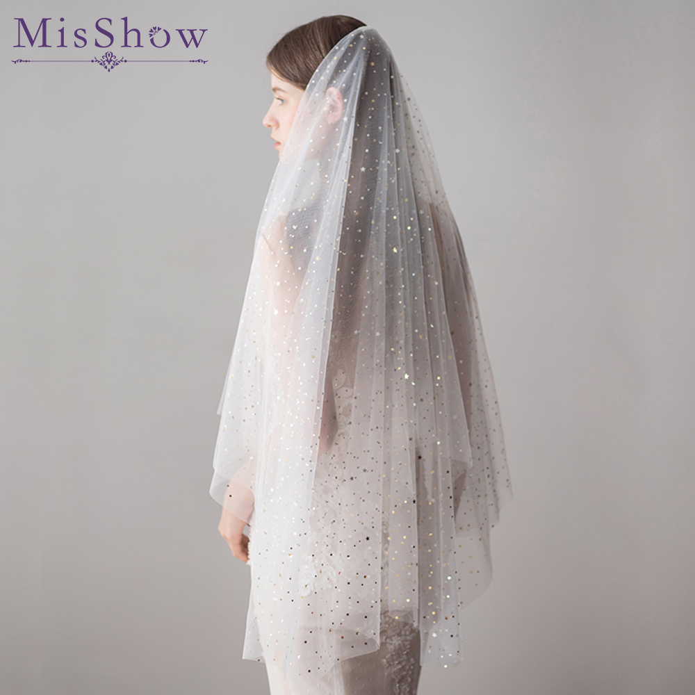 2019 Wholesale Two Layers White Ivory 1.2M Wedding Veil Bridal Veil Star Sequins Short Tulle Veils With Comb Wedding Accessories