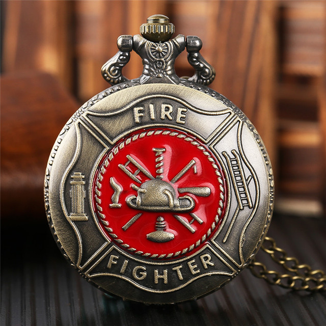 Antique Bronze Pocket Watch Classic Red Fire Fighter Symbol Carving Slim Necklac