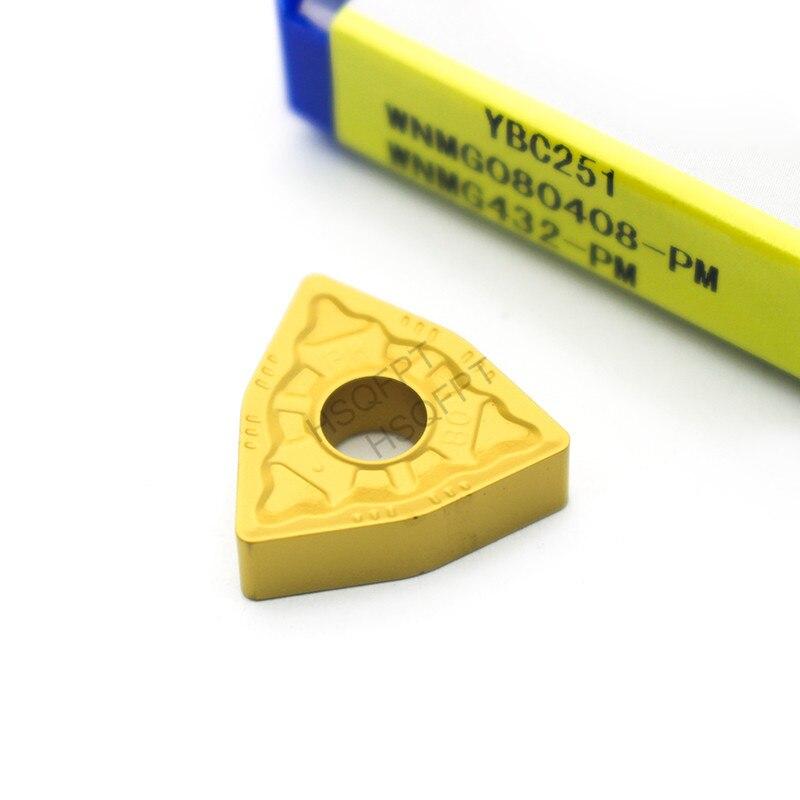 10Pcs WNMG080408 PM YBC251 External Turning Tools Carbide Inserts Cutting Tool CNC Tools Lathe Tools Lathe Cutter