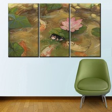 HD Print Canvas Painting Home Decorative 3 Pieces My Hero Academia Anime Pond Lotus Picture Wall Art Koi Fish And Frog Poster