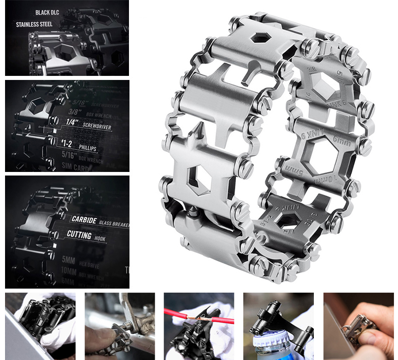 Creative 29in1 Stainless Steel Multifunction Bracelet Wristband Screwdriver Bottle Opener Outdoor Survival Emergency Tools 6