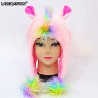 LAISIDANTON Cute Kawaii Rainbow Colorful Fur Hat Boys Girls Winter Skullies Beanies Women Pink Unicorn Plush