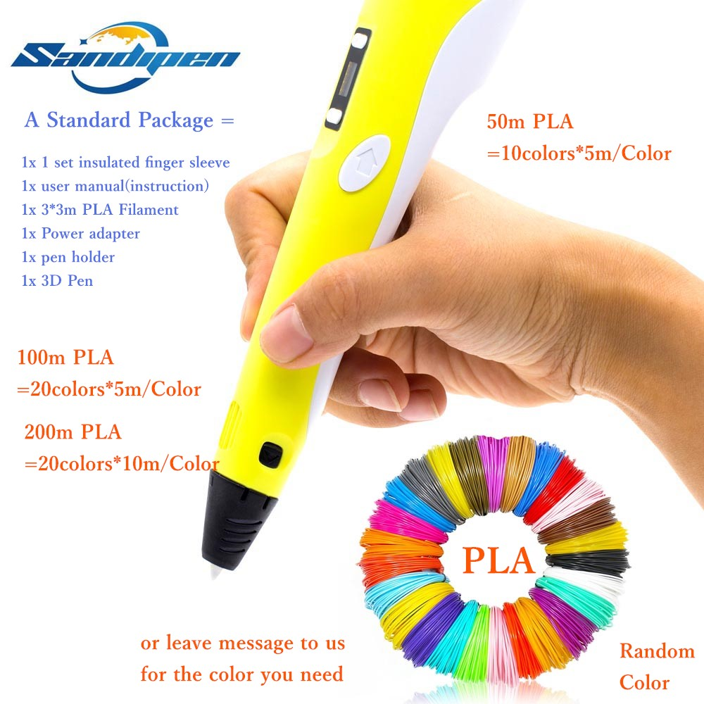 RP100B 3D Pen 3D Drawing Pen LED Screen Educational Gifts 50/100/200 PLA Package Can Choose 3d Painting Pen Birthday Gifts P04 stenders 3d 200