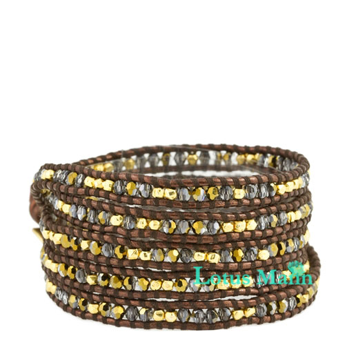 купить Classic gold crystal mixed 5 wraps golden beads gold brown leather bracelet two-color по цене 4383.12 рублей