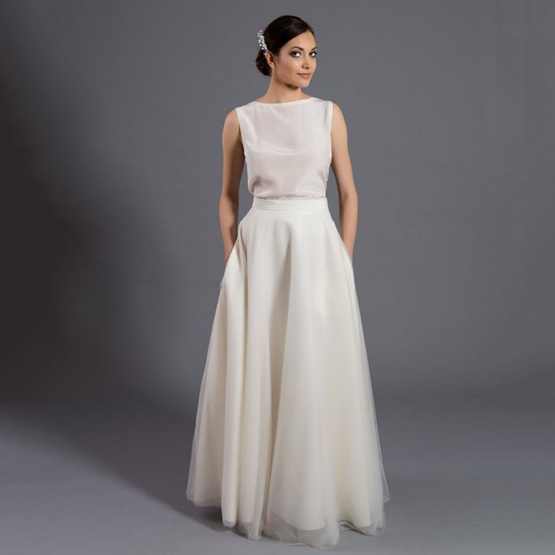 Ivory 2019 Tulle Skirts For Women Maxi Tulle Skirt With Pockets Simple And Elegant Prom Skirts
