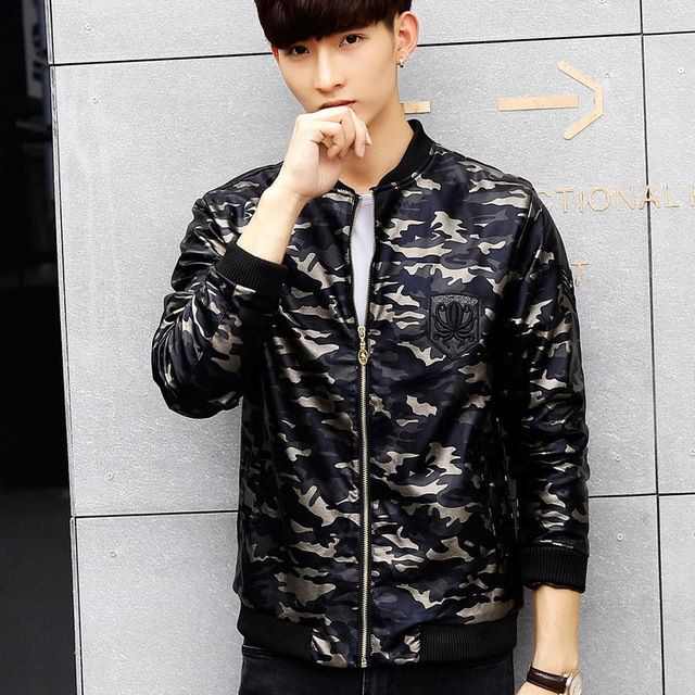 Autumn Winter Men`s Camo Leather Baseball Jacket Slim Fit Korean Style Camouflage Rib Sleeves Hem Military Style Coat