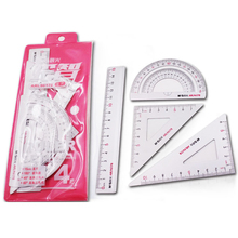 hot deal buy 4pcs/set new aluminum ruler aluminum protractor students maths geometry metal stationery ruler set office school supplies
