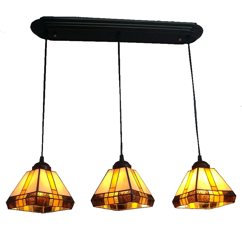 Free shipping 3 linking bar windows and French dining table with Tiffany chandeliers elongated Nordic nostalgic antique lighting linking landscape and species