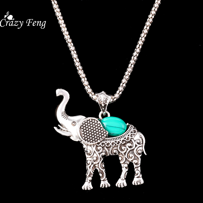 HTB1ww4cQFXXXXb XXXXq6xXFXXXZ - Fashion Green African Jewelry Sets for Women Vintage Silver Color Elephant Pendant Necklace Earrings Bracelets Jewellery Gift