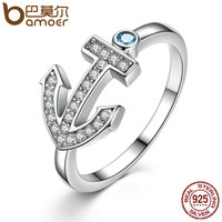 BAMOER Classic 100 925 Sterling Silver Light Blue Stone Anchor Women Finger Ring Fashion S925 Silver
