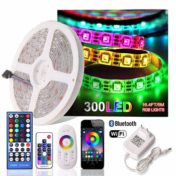 DC 12V RGB LED Strip Waterproof 220V Tira Led Wifi 12V Ribbon RGB Tape 5050 Neon Flex Strip Light Bluetooth Remote Power Adapter