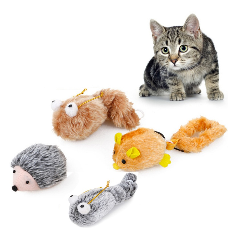 Kitten Cat Pet Interactive Play Toys Mice Mouse Shape Cat Toys Cats kitten Auto Moving Toys Supplies With Sretchable Tail Shape