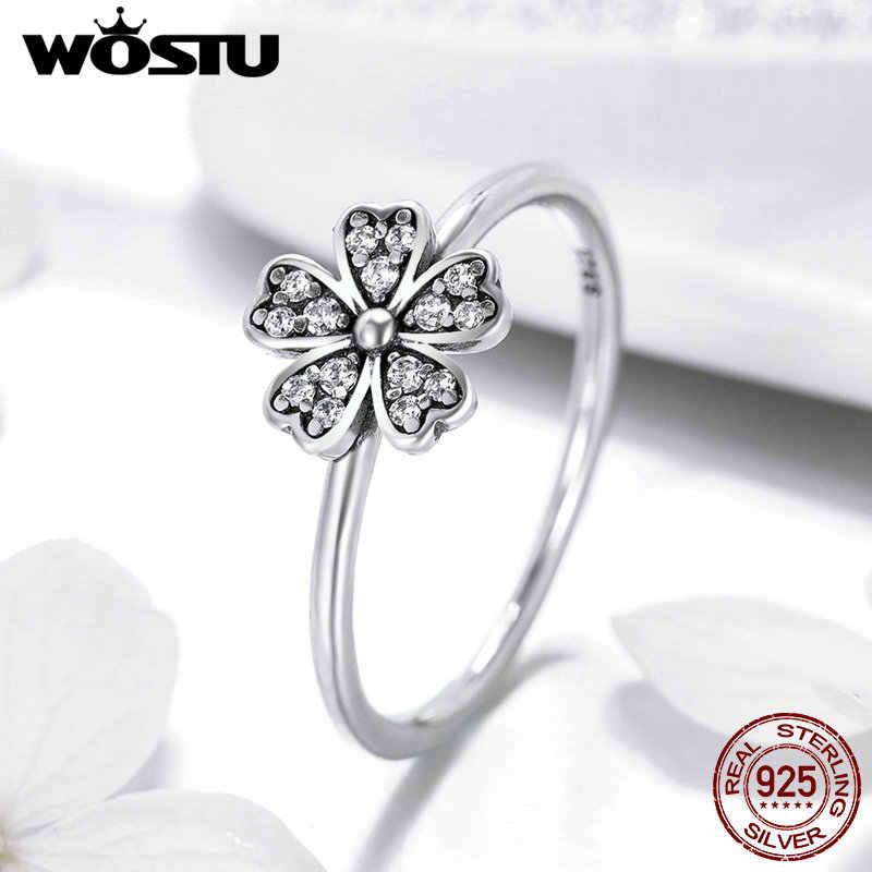 WOSTU אמיתי 925 סטרלינג כסף נשי צלול CZ דייזי אצבע טבעת עבור נשים מסיבת חתונה כסף פרח תכשיטי CQR398
