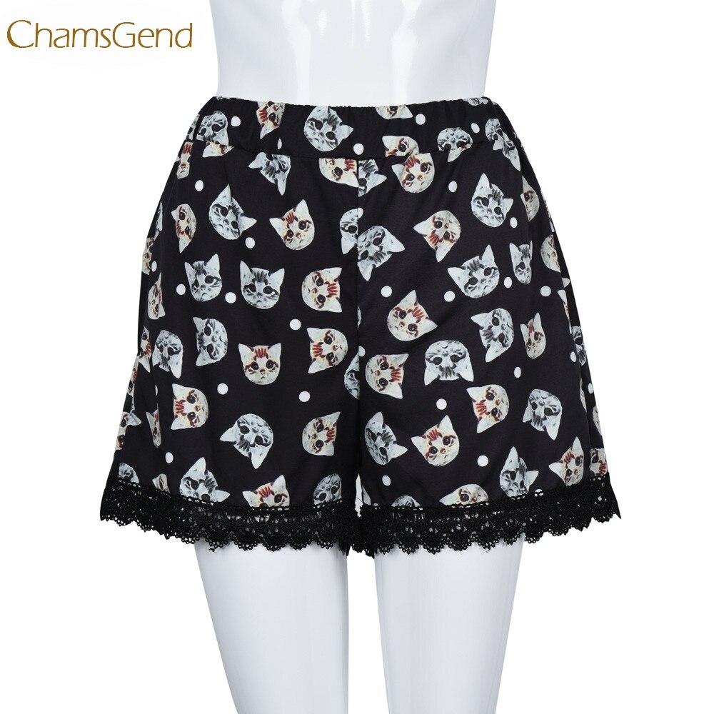 Chamsgend Newly Women Girls Leisure Kitty Head Printed Elastic High Waist Black Tassels   Shorts   160629 Drop Shipping