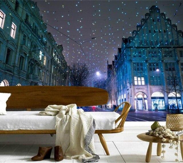 Custom 3d MuralsSwitzerland Houses Winter Christmas Street Night Wallpapersliving Room Sofa TV