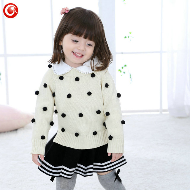 Autumn Toddler Kids Boys Sweater with Cuted  Balls Baby Knitted Cardigan Crochet Children Girls Long Sleeve Pullover Clothes