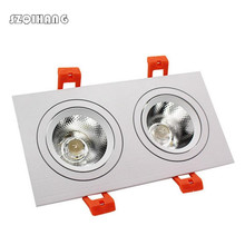 Square 10W /2*10W /3*10W Dimmable Recessed COB LED Downlight all with power Driver Down Light AC110V AC220V AC230V