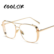 COOLSIR Retro 3 Colors Women Punk Plain Glasses Frame Brand Designer Fashion Men Square Metal Clear Lens Eyeglasses