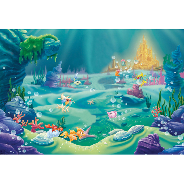 Ariel Princess Mermaid Backdrop Happy Undersea animal Castle children Photo backdrop Birthday Party Custom photography backdrop
