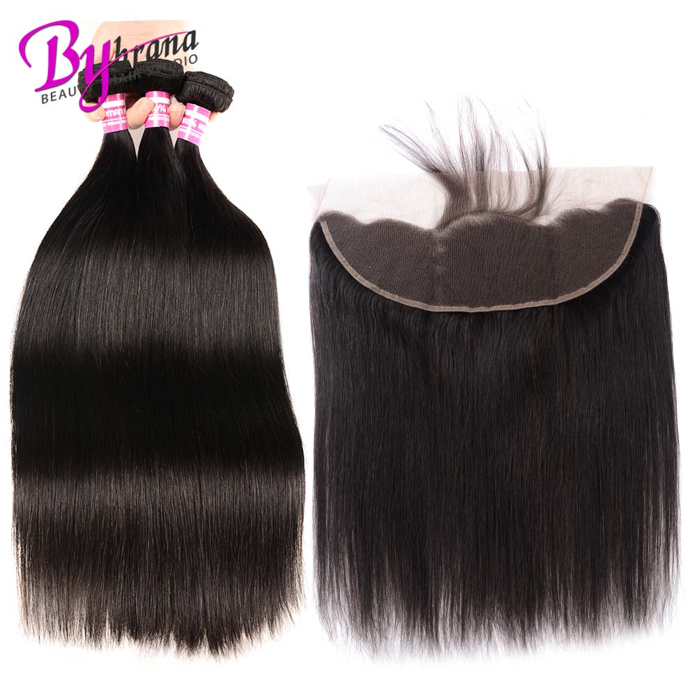 Indian Straight Hair Bundles With Frontal Natural Color Human Hair 18Inches Lace Frontal With Straight Bundles 22 24 26 Bybrana (6)