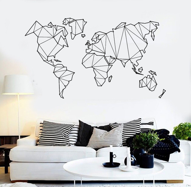 Map Of The World Vinyl Wall Decal Home Decor Living Room Geometric  Removable Abstract World Map