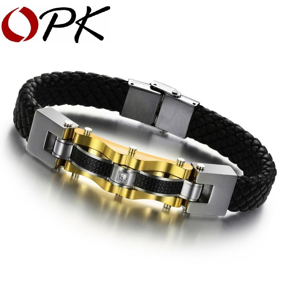 bracelet homme cuir et or