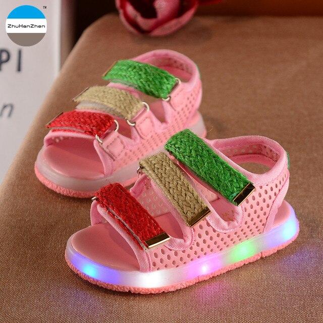 US $10.71 39% OFF|2017 1 bis 5 jahre alt LED leuchtet kinder sandalen baby jungen und mädchen glowing freizeitschuhe sommer atmungs strand schuhe mode