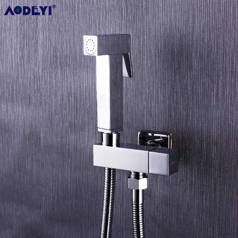 AODEYI 1 Set Solid Brass Single Cold Water Orner Valve Bidet Function Square Hand Shower Head Tap Crane 90 Degree Switch