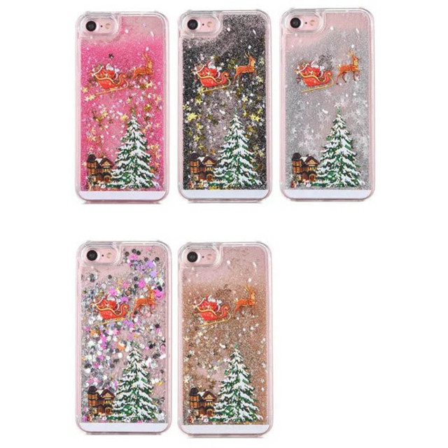 KMAX Phone Hard Case Christmas Gift For iPhone 5 5s 5se 6 6S 7 8 Plus For Samsung S5 S6 S7 Edge Glitter Liquid Quicksand cheap 1