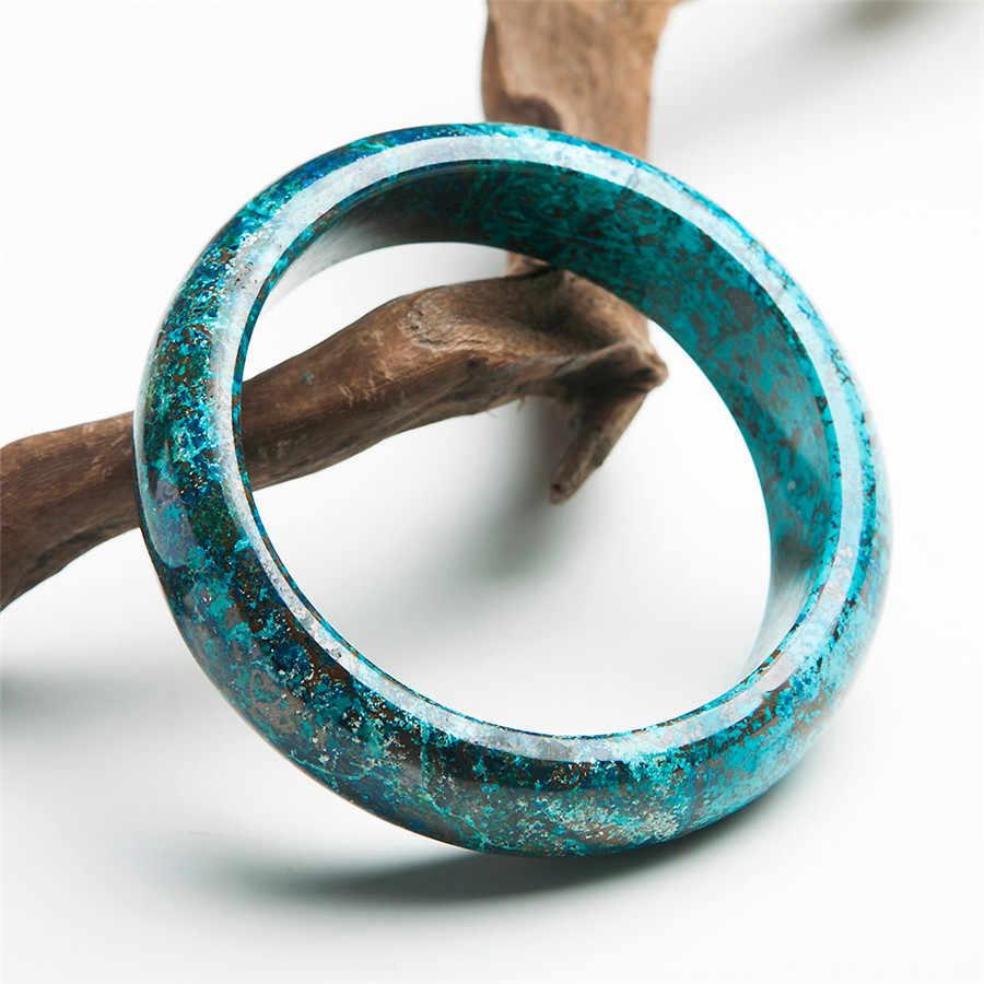 本物のグリーンマラカイト珪孔雀石天然石ブレスレットの腕輪ラウンドチャームクリスタルバングル内径 59 ミリメートル