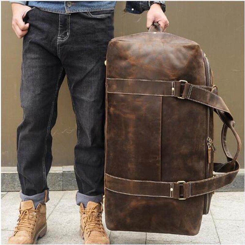 Kapazität Brown Reisetasche Kleider Horse Anaph Frauen Gepäck Taschen Zip Leder Wochenende Große Vintage um Crazy Männer Duffle Für nCURxWpqRg