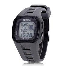Купить с кэшбэком Shhors Brand Sport Digital Watch Men Silicone Watches LED Electronic Wristwatch Waterproof Clock Silicone Army Reloj Hombre 2017