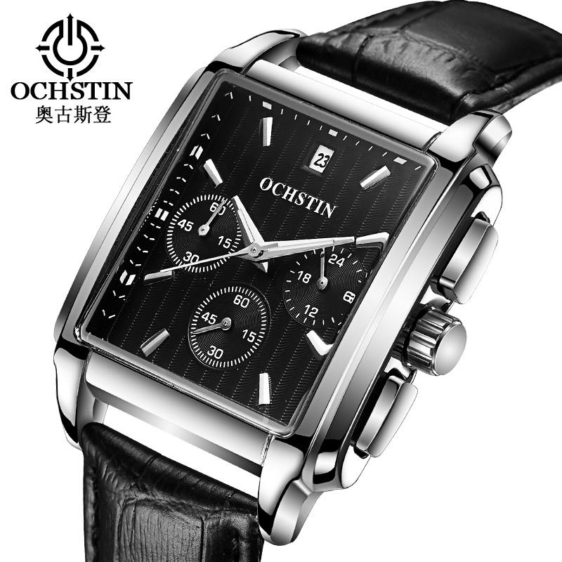 Prix pour Ochstin mode carré hommes montres quartz chronographe en cuir d'affaires hommes montre-bracelet sport horloge mâle relogio masculino saat