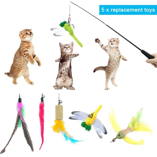 Divertente Interactive Cat Bacchetta Giocattolo Pet Piuma Pesce Giocattoli Per I