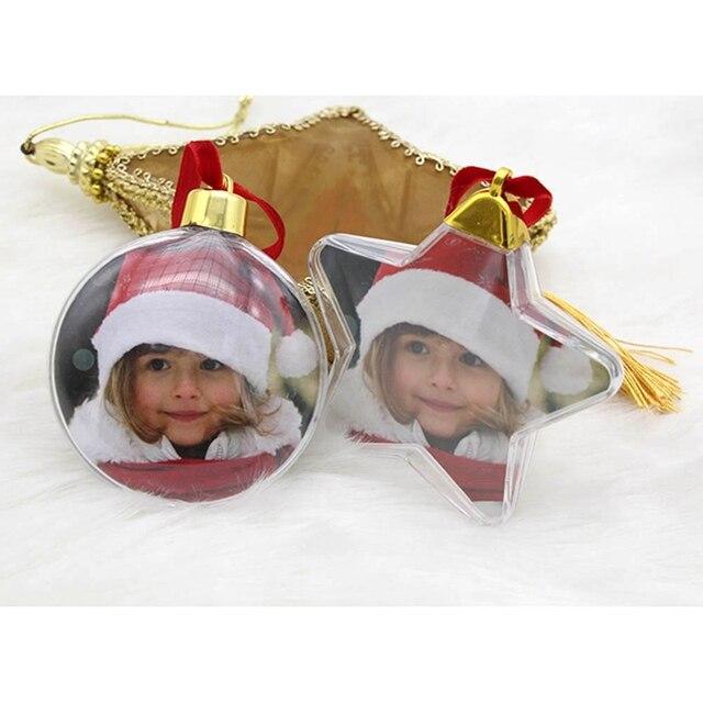 Novas Decorações De Natal Bola De Plástico Transparente Foto Cinco-estrela X-Árvore x-mas Decorações de Suspensão DIY Partido Dos Namorados presente do dia