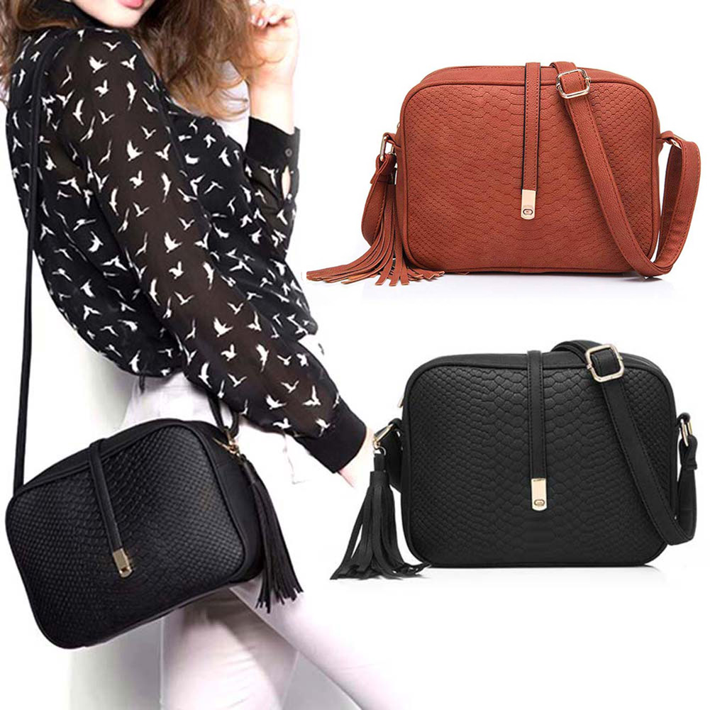 New Style Fashion Women PU Leather Shoulder Bags Small Retro Crossbody Messenger Bag Handbag With Tassel