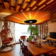 Japan Chinese Style led Wood Veneer pendant light Living Room Restaurant Dining Room hanging lighting lamp(China)