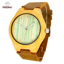 Relojes de Los Hombres de Las Mujeres Correa de Cuero Genuino Partido De Madera de bambú De Madera Retro de Los Hombres Movimiento de Cuarzo Casual Reloj de pulsera de Regalo Para El Padre