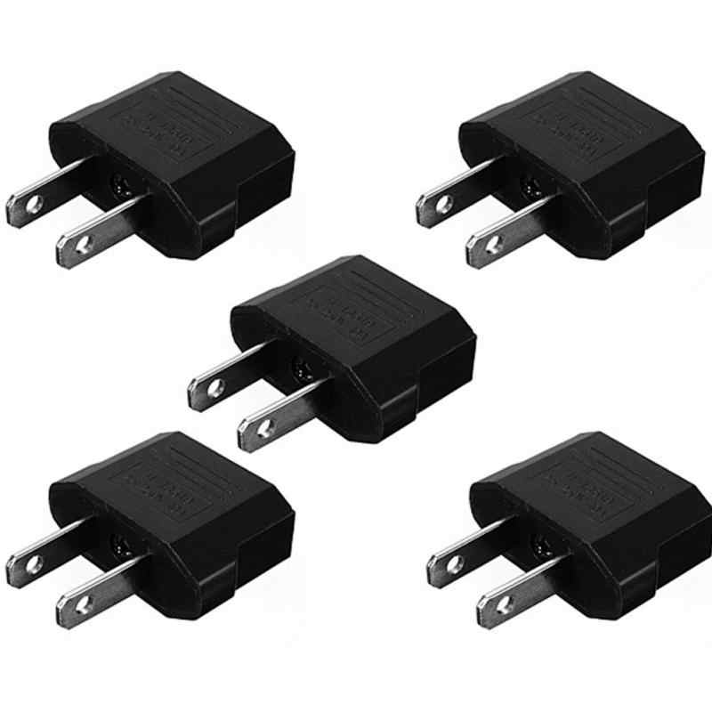 5 Pcs Travel Charger Adapter Plug Europese Euro Naar Us Usa Black Power Plug Adapter Converter Socket Adapter