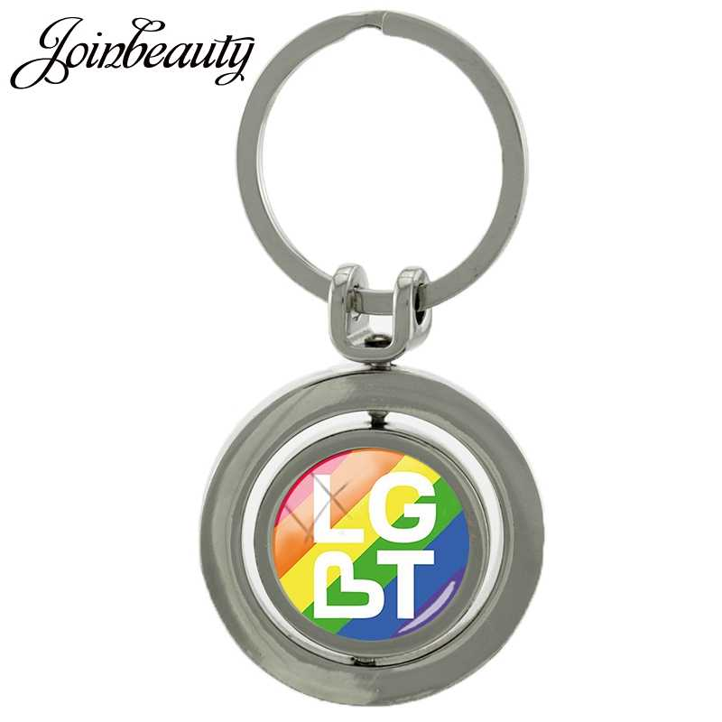 Joinbeauty Trots Gay Revolving Sleutelhanger Glas Cabochon Met Dubbele Kanten Draaibare Sleutelhangers Mode Sleutelhanger Ringen Houder BT53