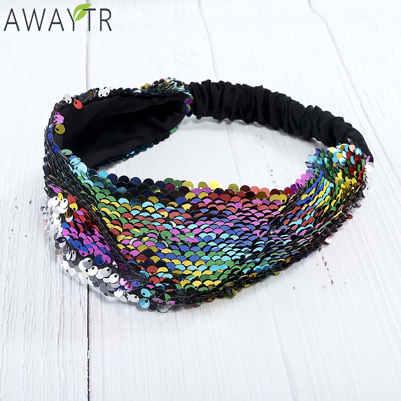 Vintage Sequin Headband Wide Glitter Band Elastic Hairband Fashion Hair Ribbon Boutique Headwear Accessories For Women 2019 New