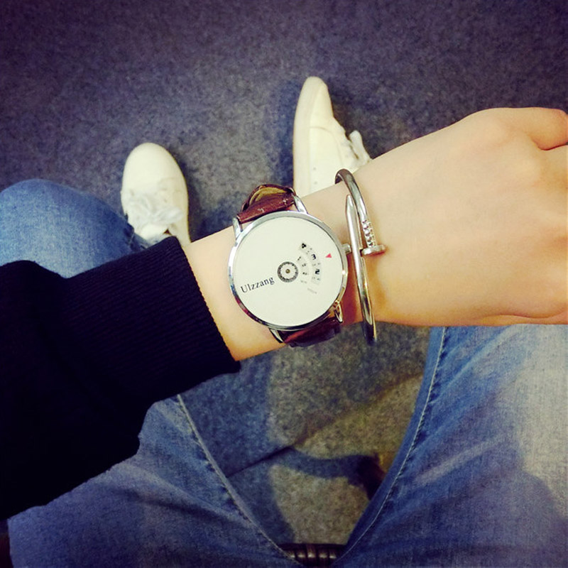 ULZZANG Leather Strap Watch Women dress watch clock men mesh wire fashion Casual watch Unisex Quartz